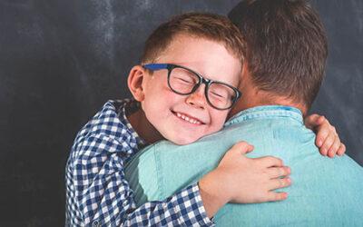 Little,Boy,Hugging,Father,Around,Shoulders.,Little,Cute,Boy,In